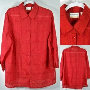 Alfred Dunner Woman Plus 16W Shirt Red Sheer